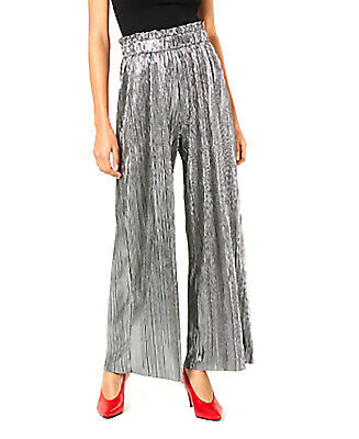 Be Bop | Pleated Metallic Pants | Silver | M