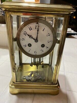 Antique Tiffany & Co. French Bronze & Crystal Regulator Mantle Clock