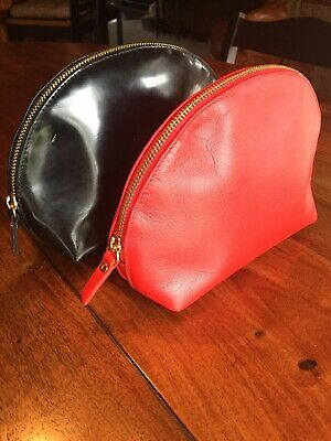 2 Valentina Leather Makeup Bags/Red/Black