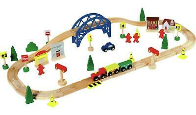 WOODEN TRAIN SET Kids Playset Educational Toy Railway Track Childrens Play Toys