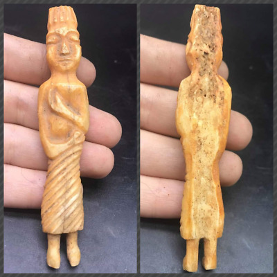 Very Ancinet Bactrain Central Asian Old Standing B0ne Statue FIgure