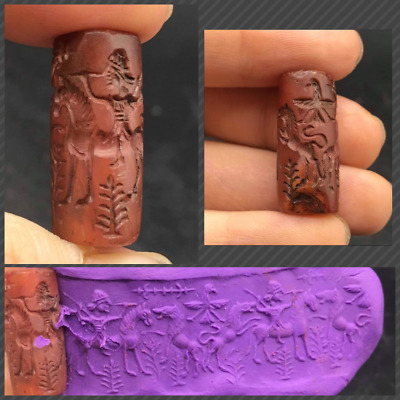 Very Ancinet Old Carnlian Agte King Riding Horse Histroy Intaglio Cylinder Seal