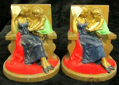 Antique Art Deco Enameled Cast Metal Bookends #509 - Child Reading to Mother