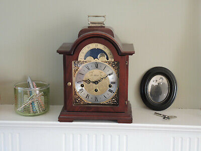 Hermle Mantel Clock Westminster chimes Walnut finish Good condition
