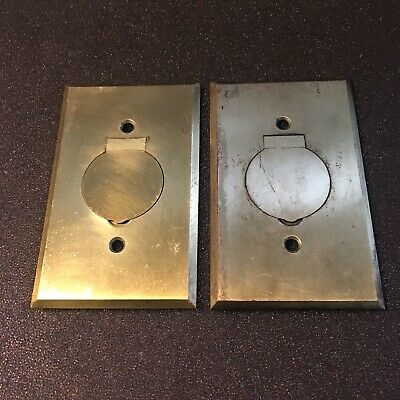 Antique Pair Of  The Bryan Elec. Co. Heavy Brass  Electrical Cover Plates