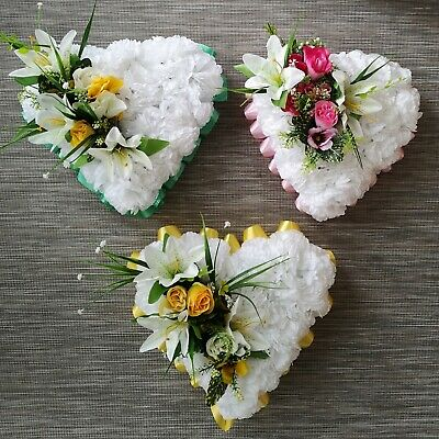 ANY COLOUR Artificial Funeral Flowers Heart Wreath Silk Tributes