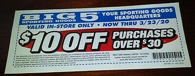 Big 5 Sporting Goods Coupon - $10 Off Purchase Over $30 - Exp 3/23/20