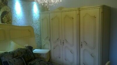 Vintage 4 door Shabby Chic French. ORIGINAL PAINT armoire,wardrobe,bedside set