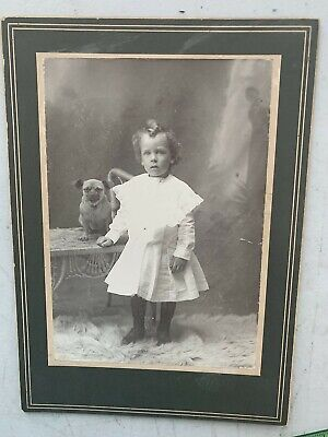 Adorable Boy In Dress With Cute Dog Vintage Cabinet Card Photo