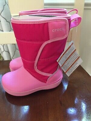 Toddler Girls Winter Insulated Lodgepoint Snow Boots Crocs Pink Size 8 NWT