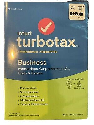 Turbotax Business 2019 for Windows (Brand New, Sealed box) Federal, E-File