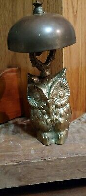Antique Solid Brass Owl Desk Bell