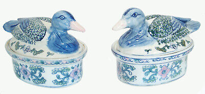 Pair of Chinese DUCK CASSEROLE DISHES – Blue & White with Pink Bills, Vintage