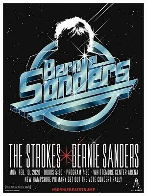 The Strokes Bernie Sanders AOC Whittemore New Hampshire Rally Concert Poster NEW