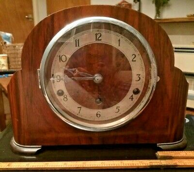 enfield clock co mantle clock. Curved Art Deco. Working. Westminster Chimes.