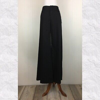 Alice & Olivia Black Wide Leg High Rise Trouser Pants Size 4 $275