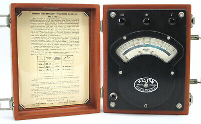 Vintage Weston Instruments 341 High Frequency AC DC Voltmeter w/ Case