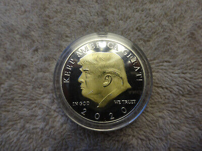 2020 TRUMP COMMANDER-IN-CHIEF-BEAUTIFULLY GOLD & SILVER PLATED -- NEW w/ CASE