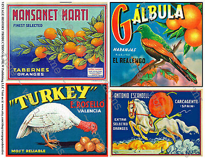 Fruit Box Label Reproductions, 2 Sticker Sheets, Small Kitchen Decoration Art