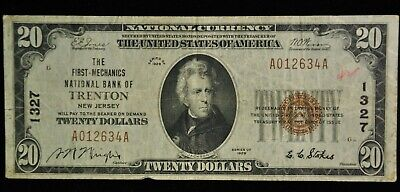 1929 $20 The First-Mechanics National Bank of Trenton New Jersery 1327 Item S-12