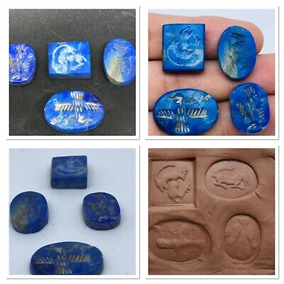 Near Eastern Old Lapis lazuli intaglio Stone Unique 4 Piece wonderful Art