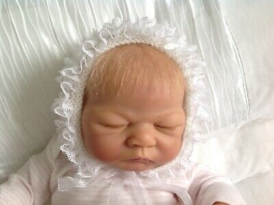 Baby's Hand Knitted lace edge White Bonnet Newborn reborn doll