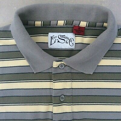 Levi Strauss & Co. Size M Polo Shirt Striped Grey Green Retro Vintage 70's style