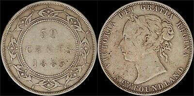 1885 Silver 50 Cents Coin Newfoundland Canada Catalog KM# 6 Queen Victoria Old