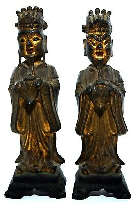 Important Gilded Bronze Chinese Dignitary Pair Authentic Ming Scholars Estate