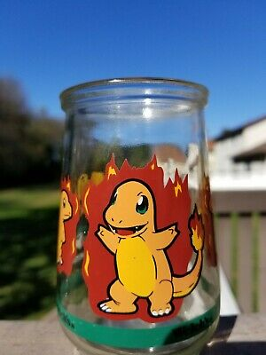 1999 Pokemon Charmander #04 Welch's Jelly Jar Glass Cup #2/9 ~ Nintendo ~ Euc