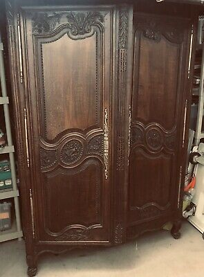 French Heirloom Antique Marriage Armoire Solid Oak Highly Carved Estate Cabinet