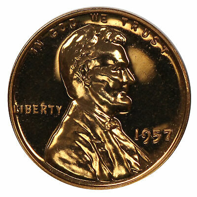 1957 Gem Proof Lincoln Wheat Cent  Brilliant US Coin