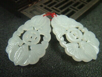 Antique Chinese Nephrite Celadon-Hetian-Jade Pair of ear-rings Butterfly Statue