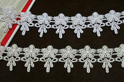 """Kiddo 1.75"""" White or Ivory Floral Daisy Flower Guipure Venice Lace Trim by Yard"""