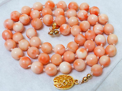 VINTAGE CHINESE NATURAL ANGEL SKIN CORAL 7.5mm BEAD NECKLACE SILVER CLASP 33GRAM
