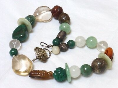 Chinese Vintage /Antique Carved Jade, Mixed Beads Necklace