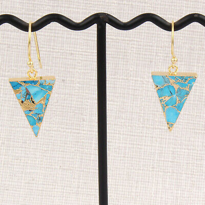 Mohave Copper Turquoise Earrings Yellow Gold Plated DIY Earring For Women Girls