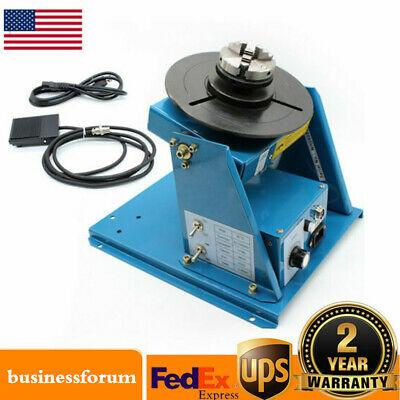 """Rotary Welding Positioner Turntable Table 2.5"""" 3 Jaw Lathe Chuck 2-20RPM 10KG US"""