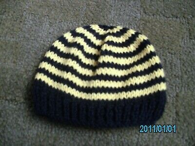 Babies Hand Knitted Striped Hat