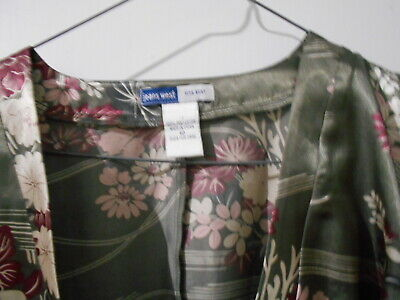 Khaki Green and Pink Floral Satin Wrap Top with Tie Bat Sleeves - JEANS WEST-10