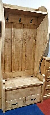 Solid Wood Rustic Chunky Plank Monks bench drawers, Coat Rack, Shelf Church Pew
