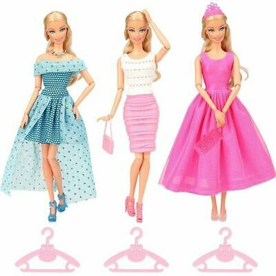 13Pcs Lot Doll Party Dress Gown Clothes For Barbie Princes Fashion Outfit Gift