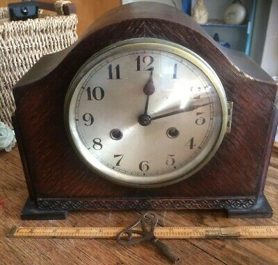 vintage mantle clock. Working has key and pendulum. Needs light clean. 11&1/2""