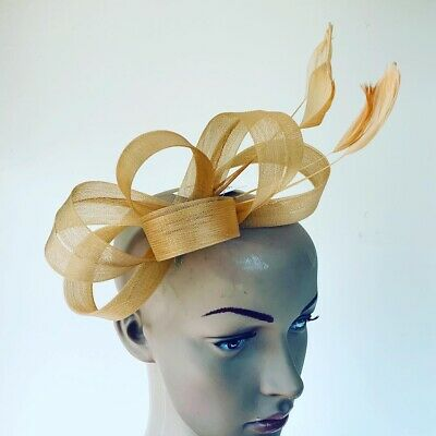 Light Gold Headband Fascinator Wedding Ladies Race Day Accessories