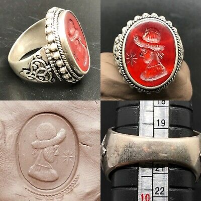 Wonderful Rare old Agate king intaglio solid silver beautiful Ring