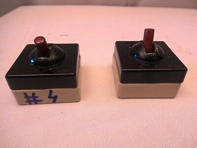 Antique Electric Switches Bakelite Porcelain Square Anchor Pilot Ac Use Only *4
