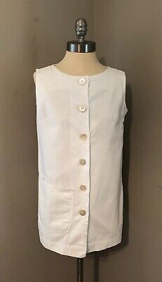 VTG 60s White Cotton Swimsuit Beach Pool Cover Up THE VILLAGER  Sleeveless Small