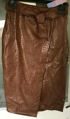 Primark STACEY SOLOMON Brown faux leather Belted Pencil skirt high waist SZ 14