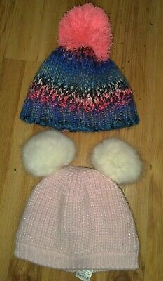NEXT And NUTMEG Baby Girl Pom Pom Bobble Wool Hats Age 0-3months