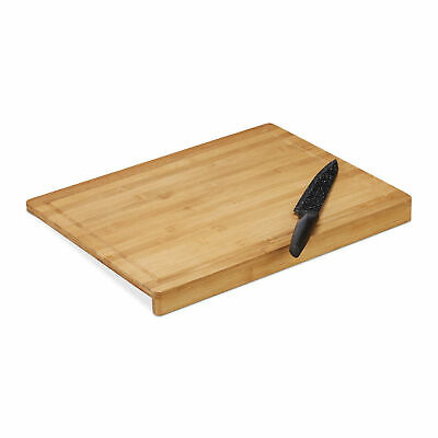 Bamboo Chopping Board Stop Edge & Juice Groove Cutting Meat Kitchen Natural